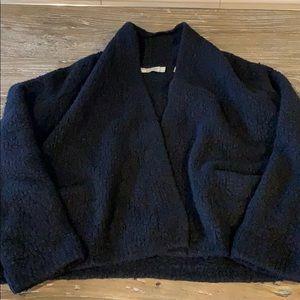 Vince teddy bear shawl collar cardigan blk XS